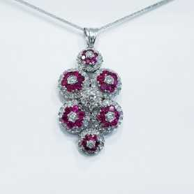 Pendant in White Gold 18 kt with Diamonds and Rubies