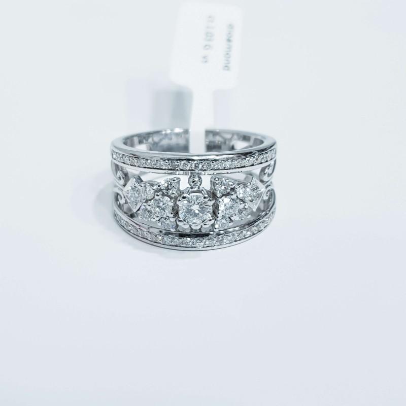 Anello in Oro 18 kt con Diamanti 1.00 ct Totale G color purezza VS