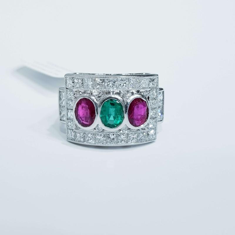 Anello in Oro Diamanti Rubini e Smeraldo