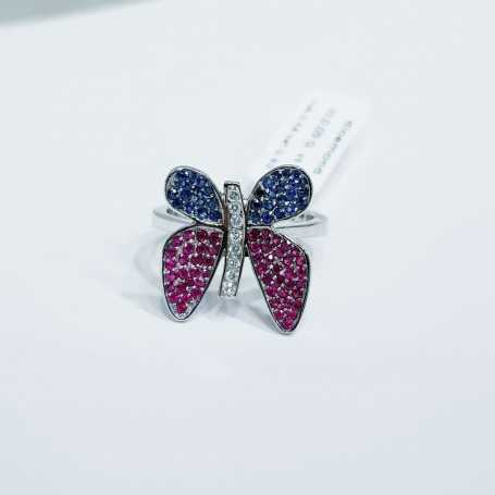 Butterfly ring in 18 kt Gold composition sapphires rubies and diamonds