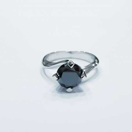 Solitaire ring with 2.35 carat diamond purity VS Black color