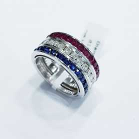 Band Ring in Gold with Diamonds, Sapphires and Natural Rubies 5.13 ct Total
