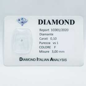 DIAMANTE NATURALE CERTIFICATO 0.10ct F VS1 in BLISTER SIGILLATO