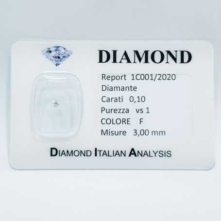 0.10 ct F VS1 certified natural diamond in sealed BLISTER