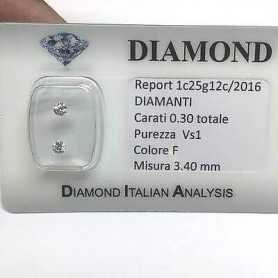 DIAMANTE COPPIA PER ORECCHINI 0.30 F color vs1 blister lotto 0.50 1.00 0.70