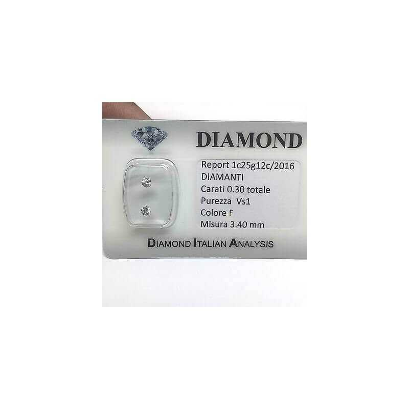 DIAMOND PAIR FOR EARRINGS 0.30 F color vs1 blister lotto 0.50 1.00 0.70