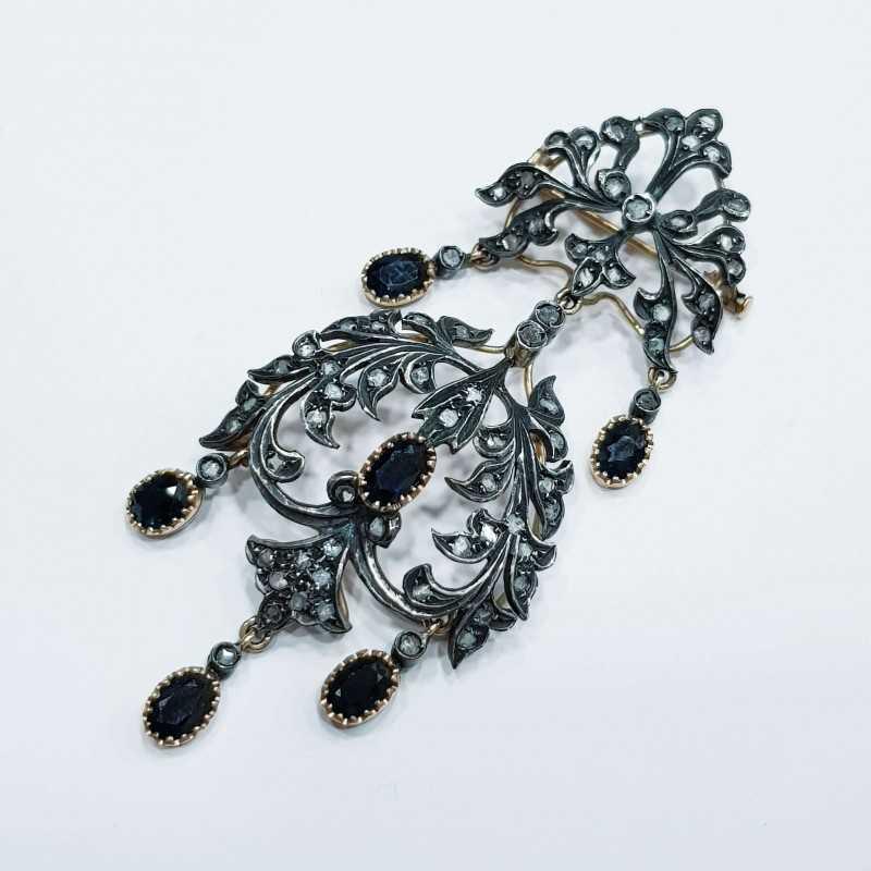 Spilla o Pendente zaffiri diamanti vintage antica