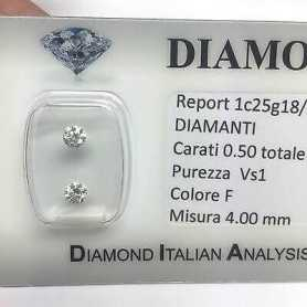 DIAMANTE COPPIA PER ORECCHINI 0.50 F color vs1 blister
