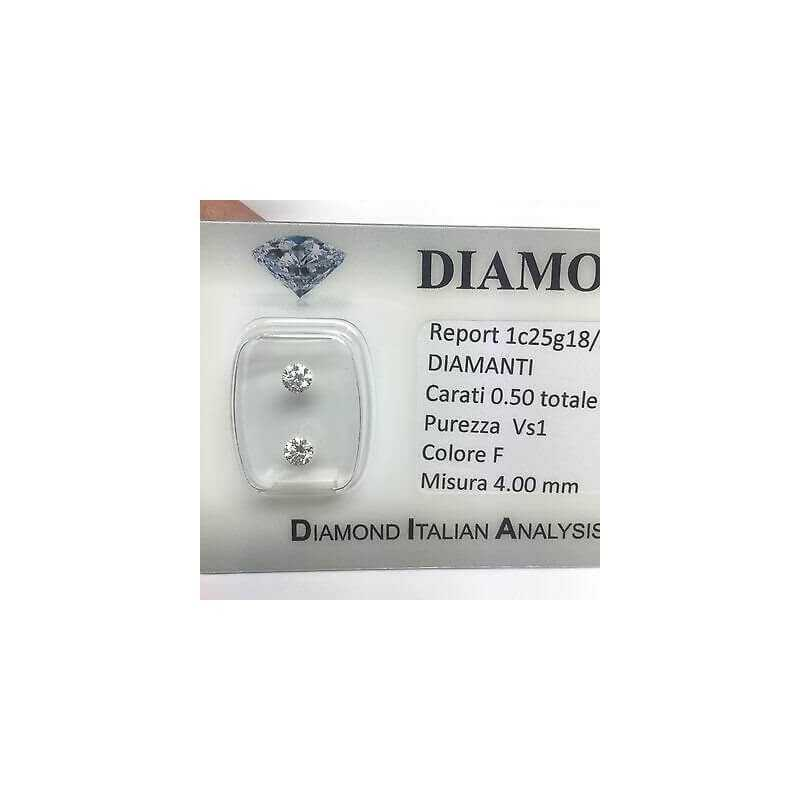 DIAMOND PAIR FOR EARRINGS 0.50 F color vs1 blister