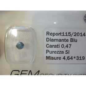 DIAMANTE FANCY BLU BLUE 0.47 CARATI LOTTO 0.50 0.75 1.0