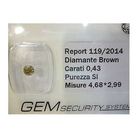 DIAMANTE FANCY BROWN 0.43 CARATI LOTTO 0.50 0.75 1.0