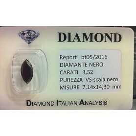 DIAMANTE NERO TONDO 3,52 CARATI SUPERIORE BRILLANTISSIMO L.to 2.0 3.0 4.0 5.0