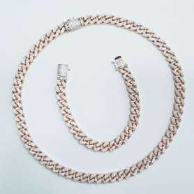 BRACELET and NECKLACE CURB 925 SILVER RHODIUM-plated GOLD