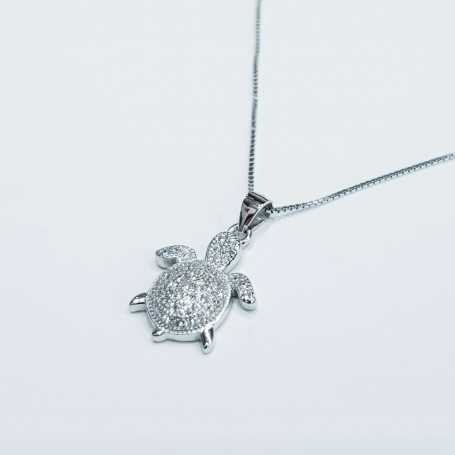 Turtle pendant in 925 Silver rhodium plated gold
