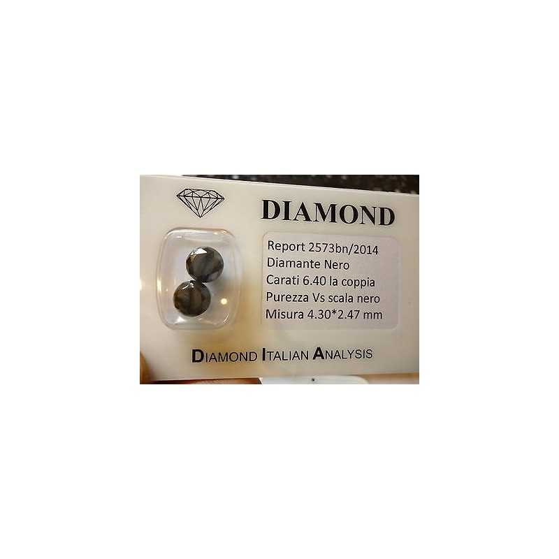 BLACK DIAMOND pair ROUND 6.40 CARATS TOTAL UPPER SHINY L. to 5.0 6.0 7